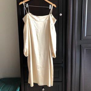 Tibi  NWT champagne silk off the shoulder dress